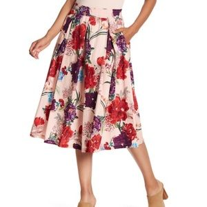 Philosophy Full Floral Midi Skirt with Pockets